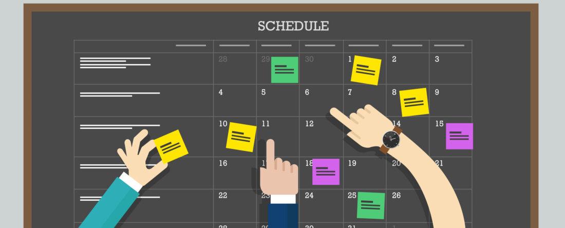 Calendar schedule board with hand collaboration plan board